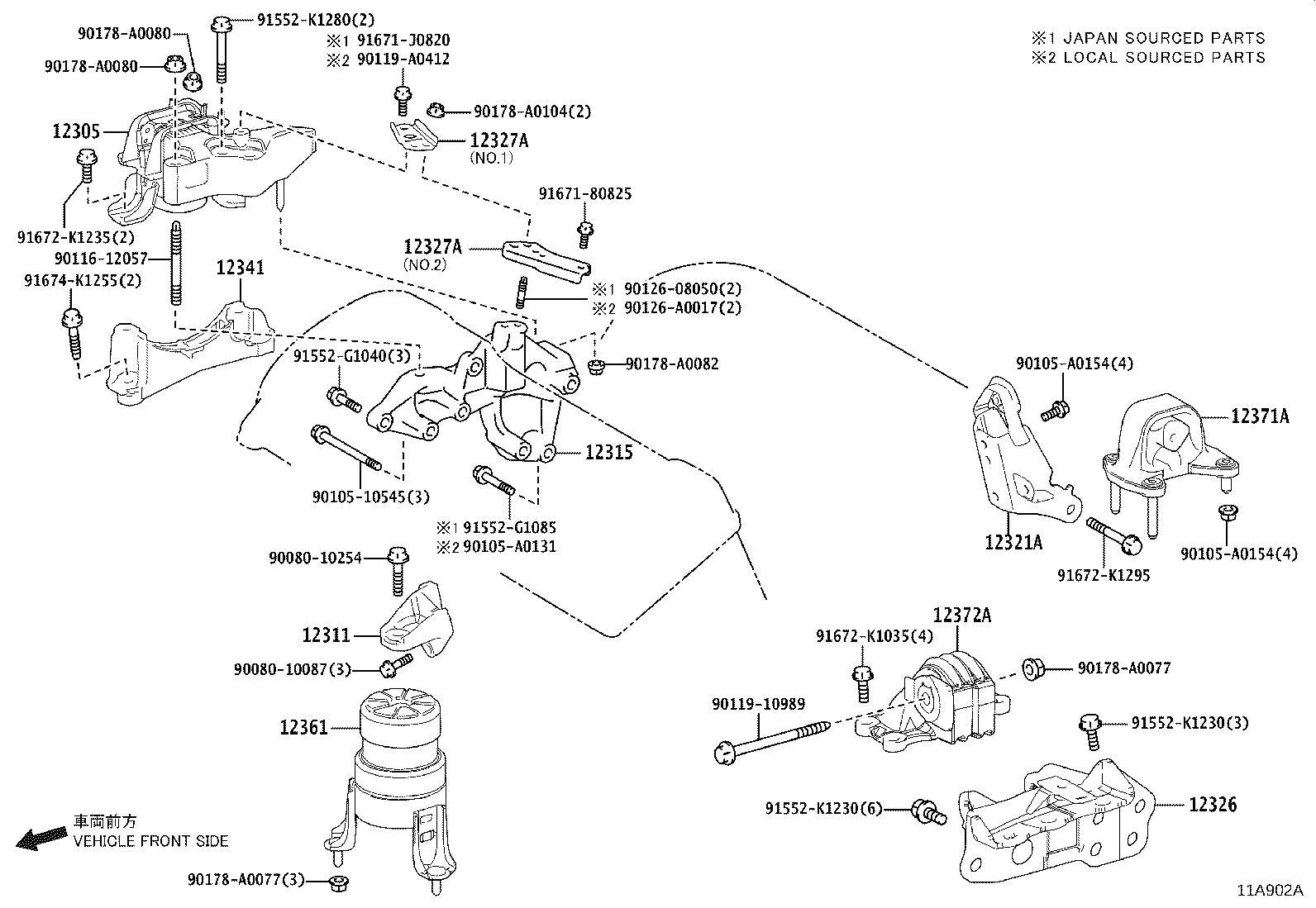 123150P080 - Bracket, engine mounting, front no. 1 left ...