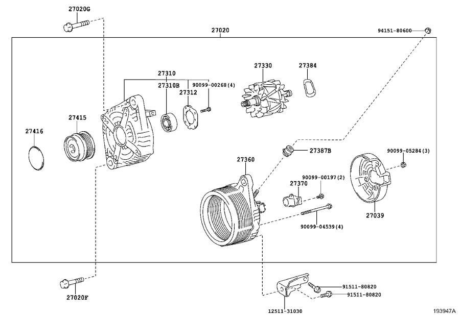 273100p140 - Frame Assembly  Drive End  Alternator  Engine
