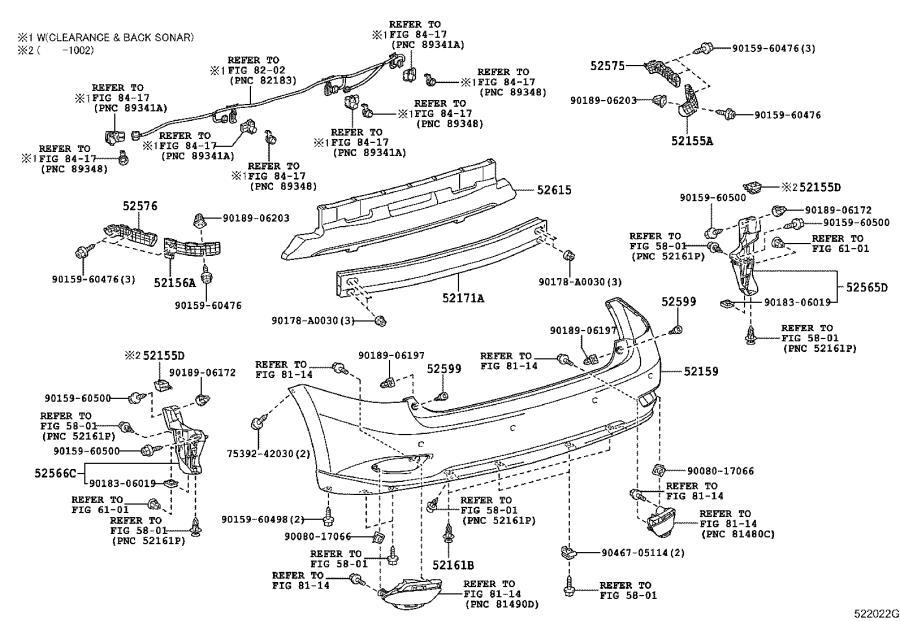 525660e020 - retainer  rear bumper  lower left