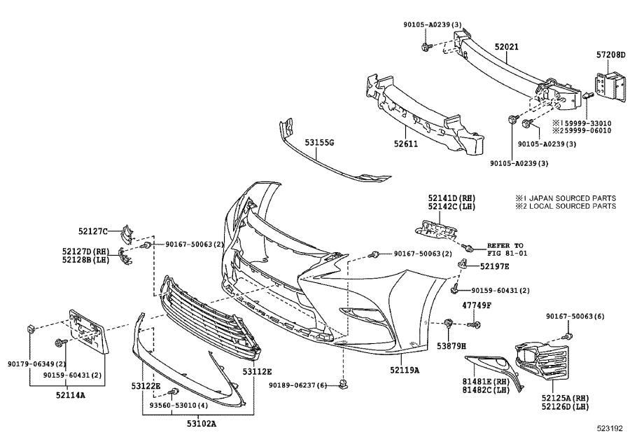 5311206550 - Grille  Radiator  Lower No  1  Bumper