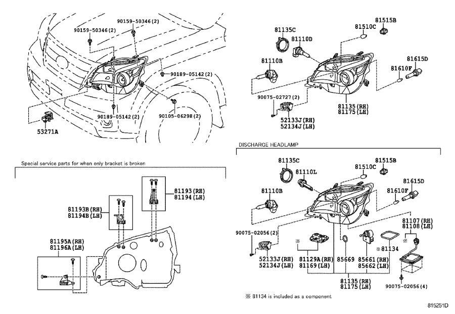 2014 Lexus Gx 460 Unit Assembly  Headlamp  Right  Lighting