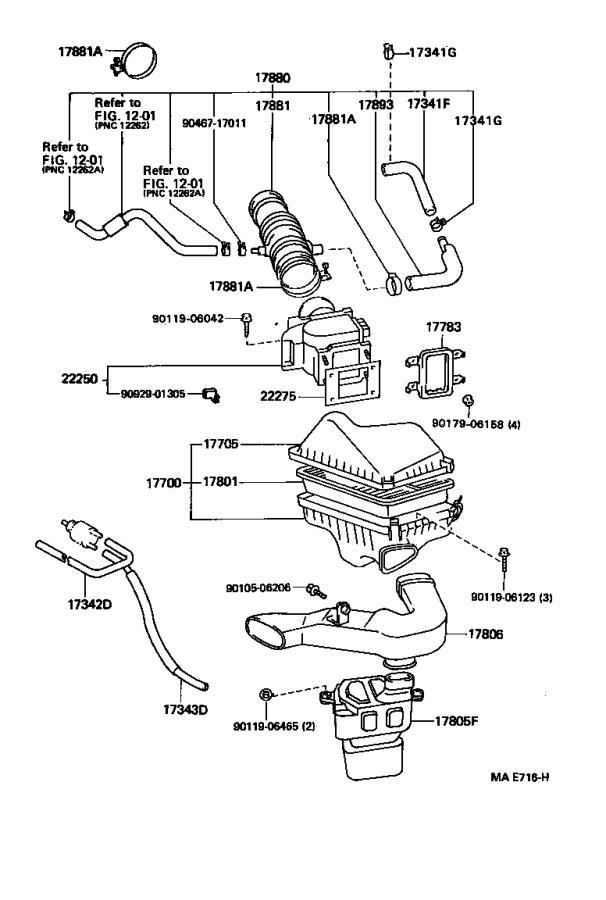 2225020020 - Mass Air Flow Sensor. Meter, Intake Air Flow ...